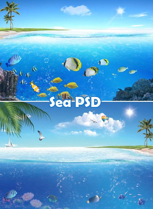 Sea psd templates 2 psd 2000 1400 2300 1500 73 mb download sea psd